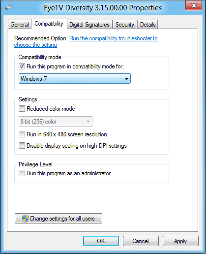 Windows 8 compatibility-mode