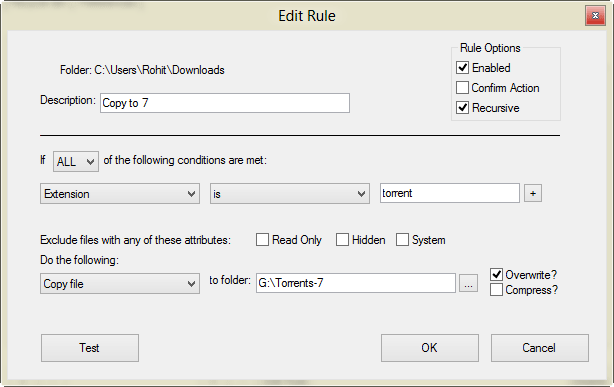 Copy File Rule in Belveder Settings