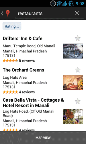 Restaurant Search on Google Maps Android App