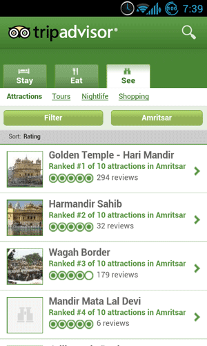 TripAdvisor Places on Android
