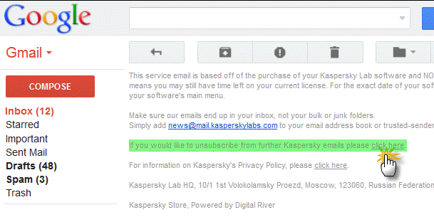 unsubscribe newsletter link in email