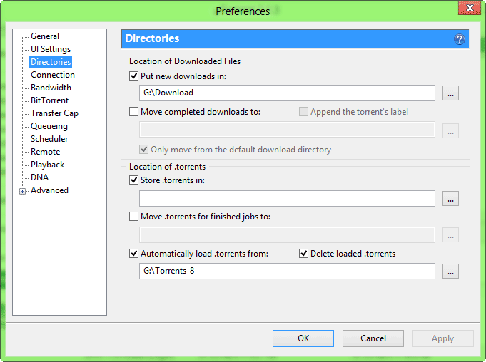 uTorrent Directory Settings for Dual Boot Windows