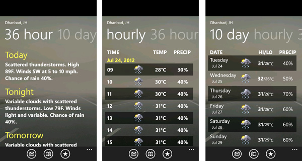 free weather forecast apps for window phone