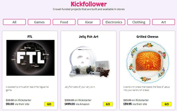 kickfollower to buy Kickstarter products