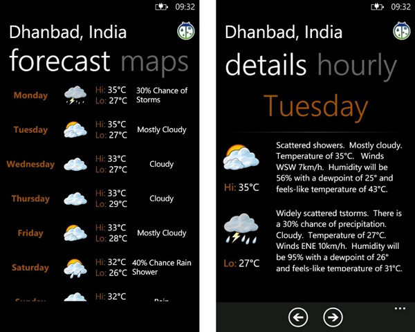 free weather forecast app for windows phone
