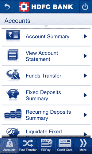 HDFC Bank Android App Account Summary