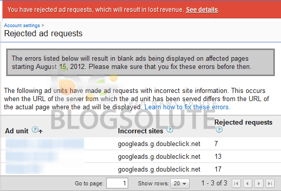 Fix Adsense Rejected Ad Request