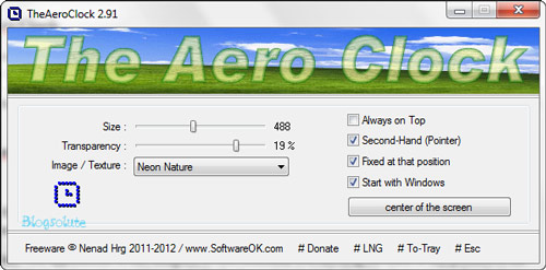 windows aero desktop clock