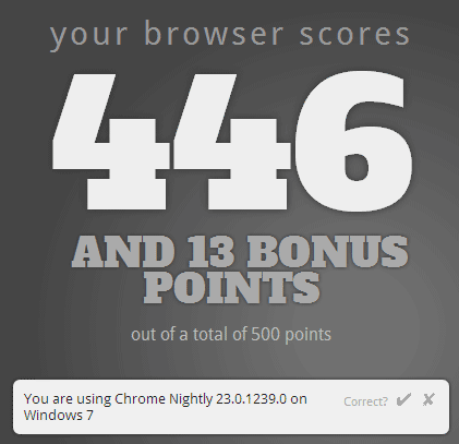 Chrome Canary HTML5 Test