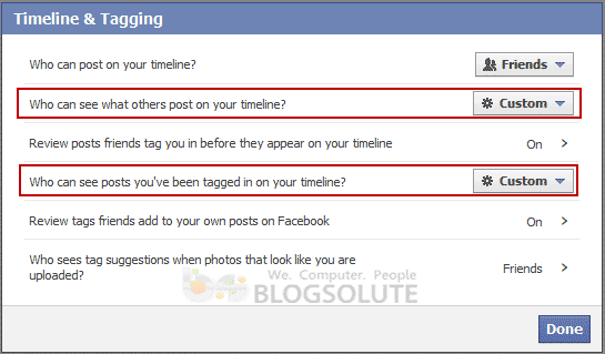 Facebook Tagging Settings