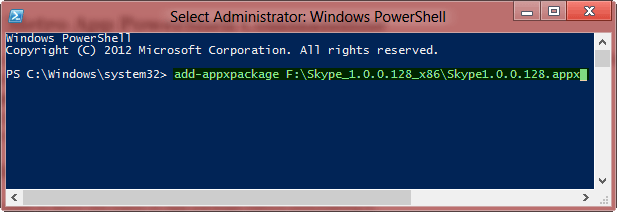 Install metro app Powershell Command Windows 8