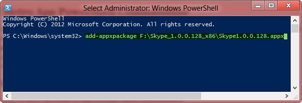 Install metro app Powershell Command Windows 8