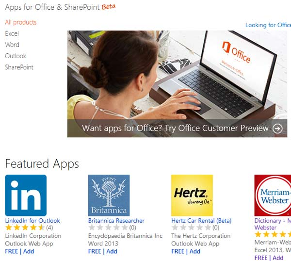 MS Office 2013 App store