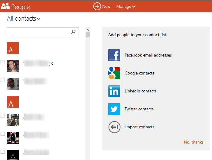 outlook contact management with social Networks