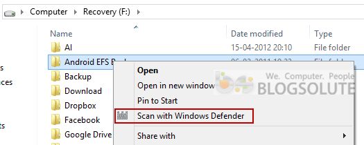 Scan with Windows Defender Menu