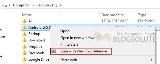 Scan with Windows Defender Menu