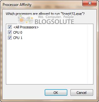 Windows 7 Processor Affinity CPU Core