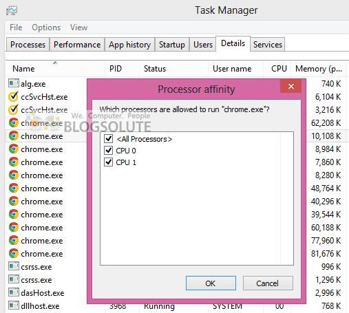 Windows 8 Processor Affinity