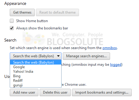 Remove Babylon Chrome Search