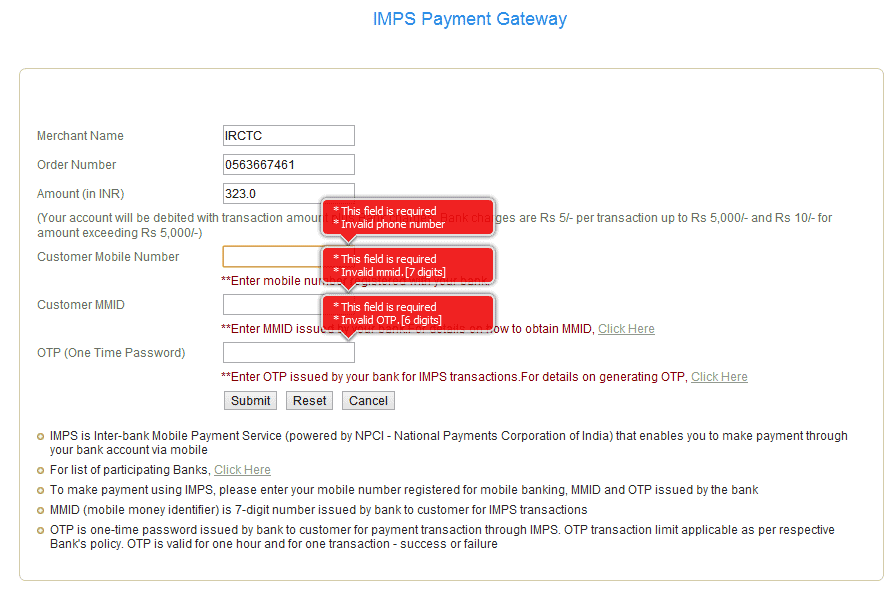 imps payment in irctc