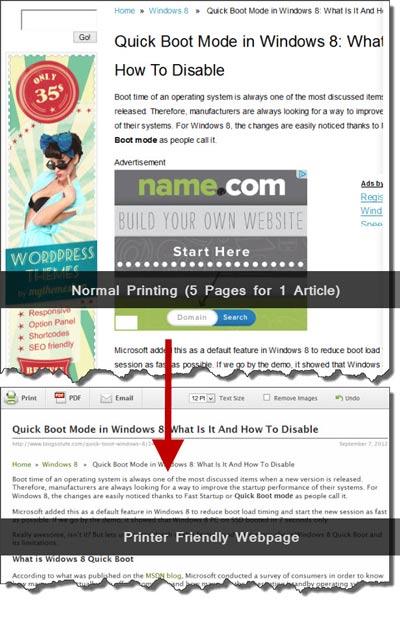 printer friendly webpage