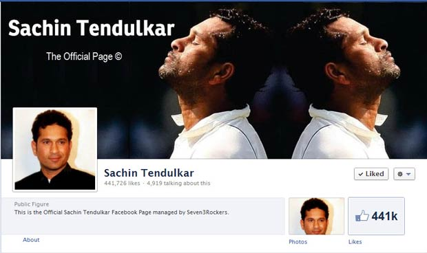 sachin tendulkar facebook account Profile