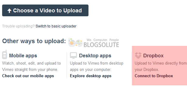 Connect Dropbox to Vimeo For Video Upload