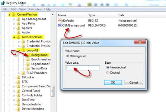 change Windows 7 logon manually