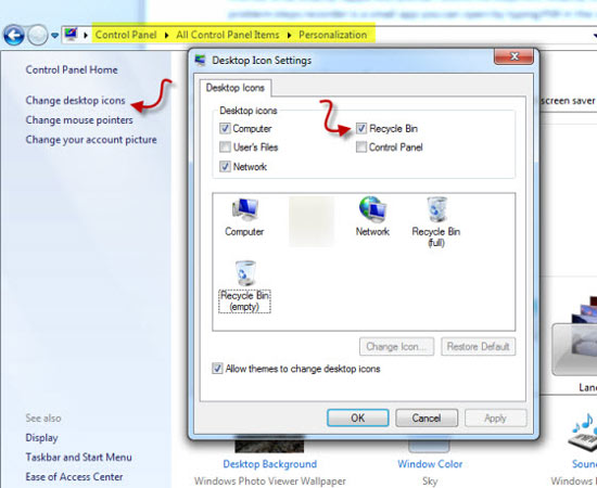 how to remove recycle bin in windows 7