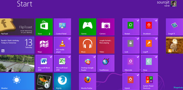 organize start screen windows 8