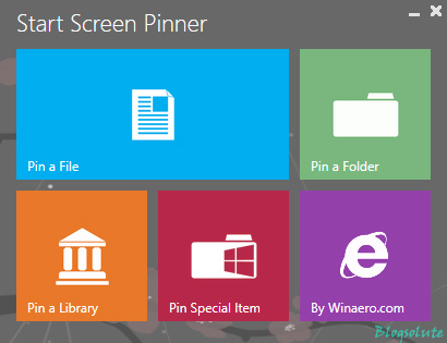 pin Files, folder, library to windows 8 start screen