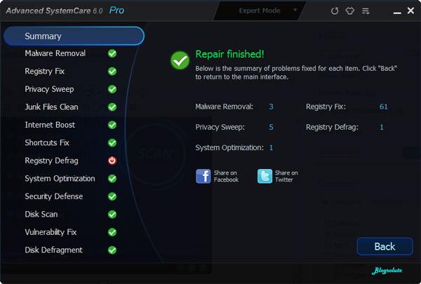 Advanced system Cleaner v6 Expert Mode results