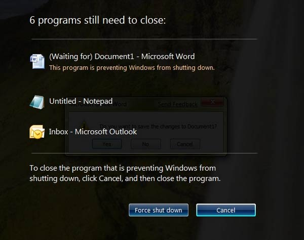 force Shutdown windows