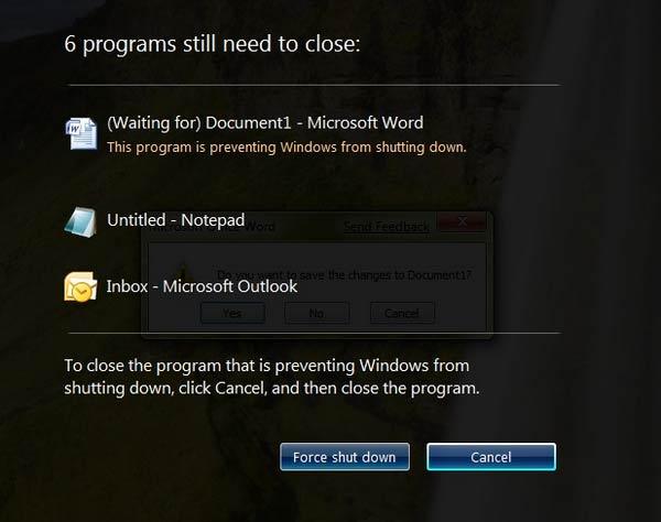 force Shutdown windows