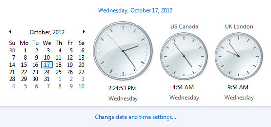 setting up multiple clocks on windows