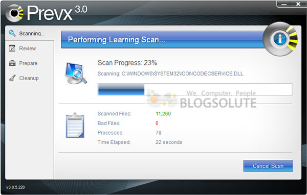 prevx scanning speed review