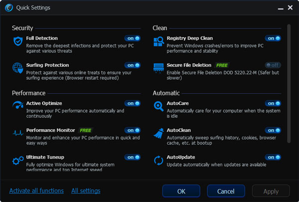 Advanced system care v6 quick settings
