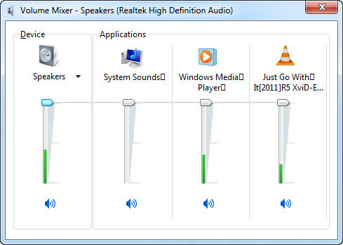 how to set different volumes for different applications windows 7