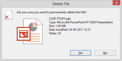 shift delete file permanently