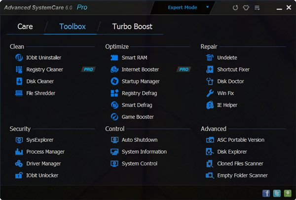 advanced system care v6 toolbox