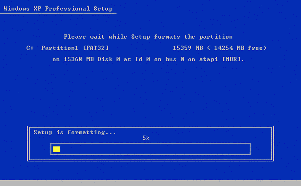 windows XP format