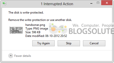 disk write protection interrupted action