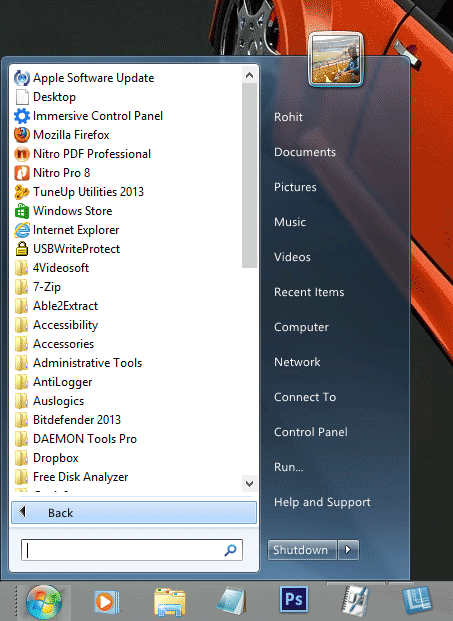 Vistart menu for Windows 8