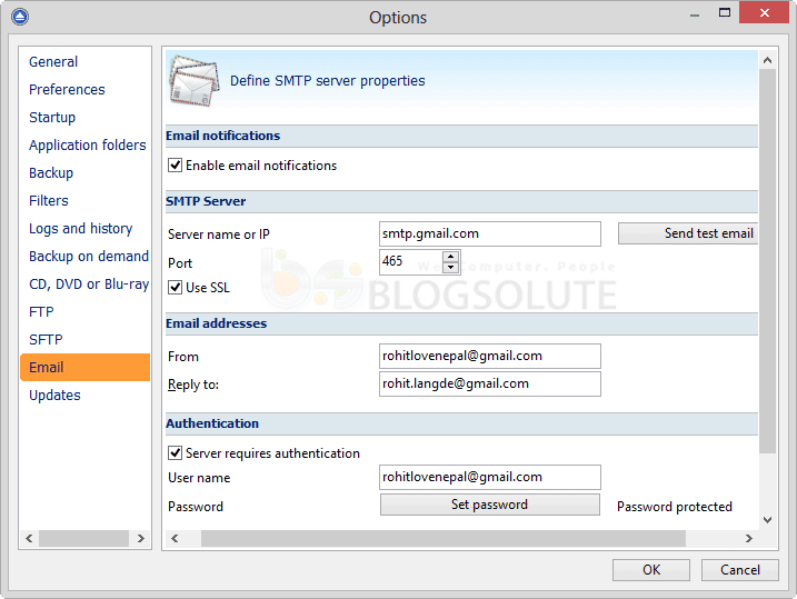 backup4all email smtp settings
