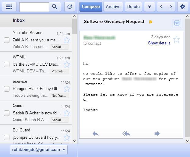 gmail offline interface