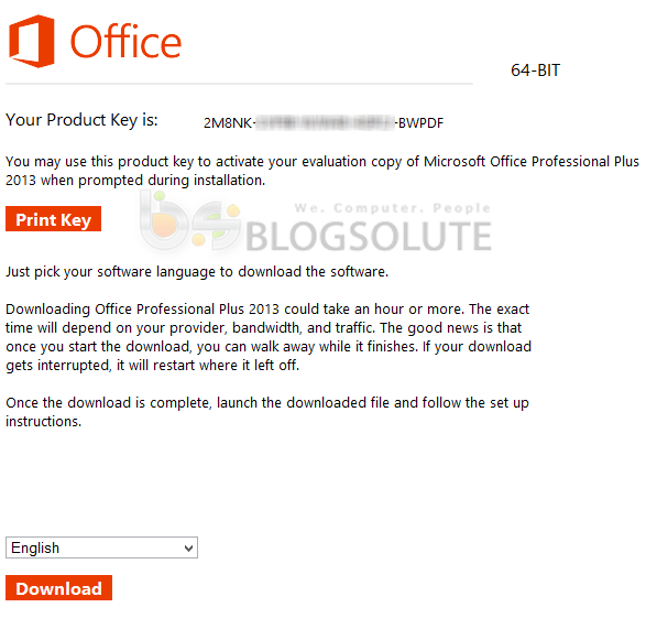 ms office 2013 product key download