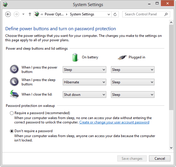 password disable on sleep wakeup windows-8