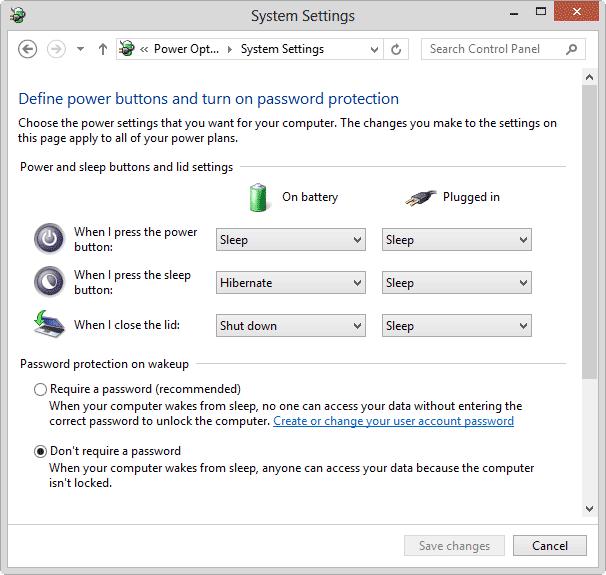 password disable on sleep wakeup windows-8