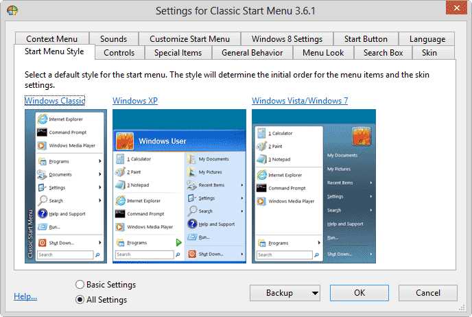 win8 startbutton settings
