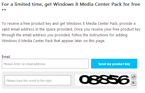 windows 8 media center product key promo